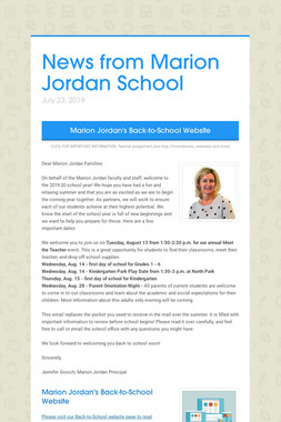 News from Marion Jordan School