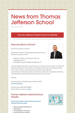 News from Thomas Jefferson School
