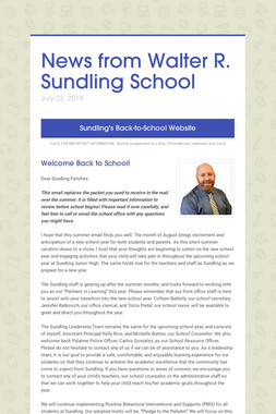 News from Walter R. Sundling School
