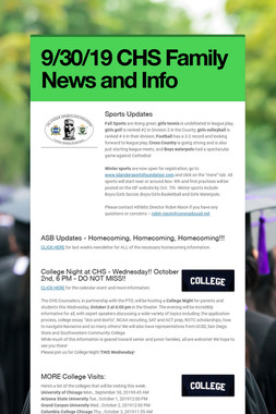 9/30/19 CHS Family News and Info