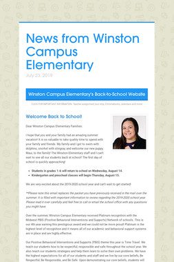 News from Winston Campus Elementary