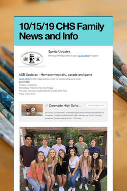 10/15/19 CHS Family News and Info