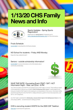 1/13/20 CHS Family News and Info
