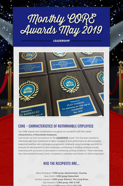 Monthly CORE Awards May2019