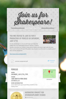 Join us for Shakespeare!