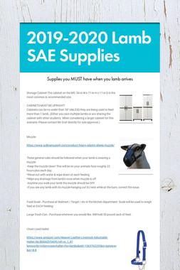 2019-2020 Lamb SAE Supplies