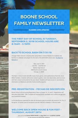 BOONE SCHOOL FAMILY NEWSLETTER