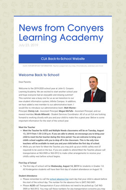 News from Conyers Learning Academy
