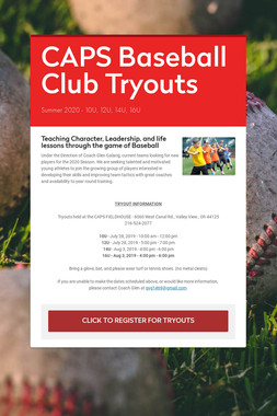 CAPS Baseball Club Tryouts