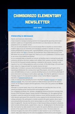 Chimborazo Elementary Newsletter