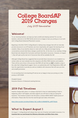College Board/AP 2019 Changes