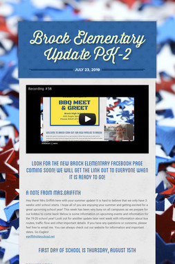 Brock Elementary Update PK-2