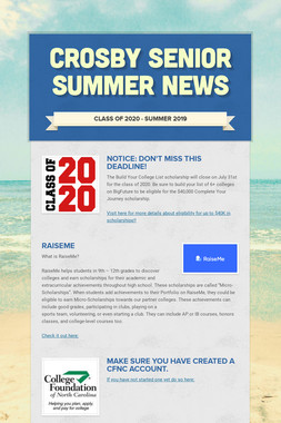 Crosby Senior Summer News
