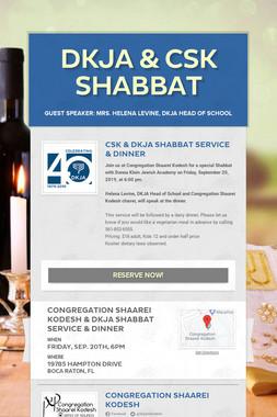 DKJA & CSK Shabbat