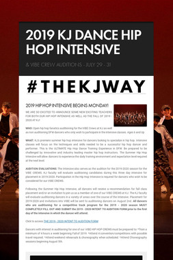 2019 KJ DANCE HIP HOP INTENSIVE