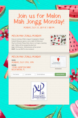 Join us for Melon Mah Jongg Monday!