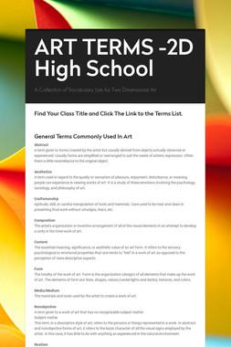 ART TERMS -2D High School