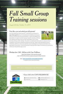Fall Small Group Training sessions