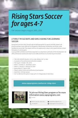 Rising Stars Soccer for ages 4-7