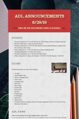 ADL Announcements 8/29/19