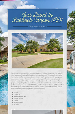 Just Listed in Lubbock Cooper ISD!