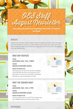 OES Staff August Newsletter