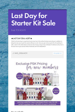 Last Day for Starter Kit Sale