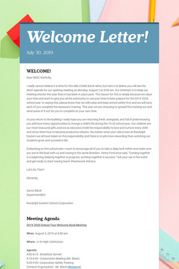 Welcome Letter!