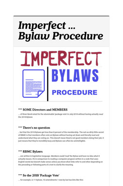 Imperfect ... Bylaw Procedure