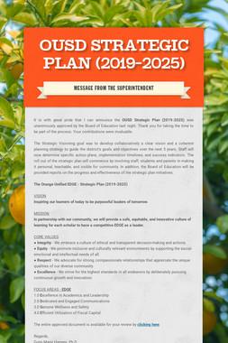OUSD Strategic Plan (2019-2025)