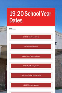 19-20 School Year Dates