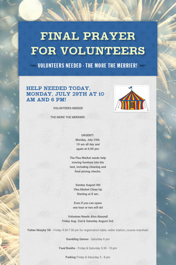 Final Prayer for Volunteers