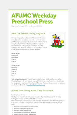 AFUMC Weekday Preschool Press