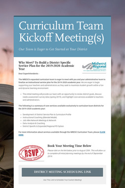 Curriculum Team Kickoff Meeting(s)