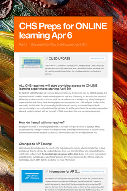 CHS Preps for ONLINE learning Apr 6