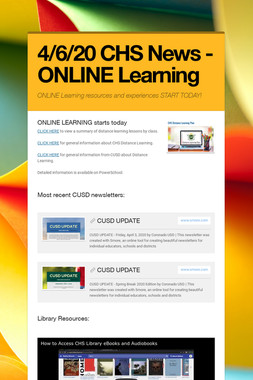 4/6/20 CHS News - ONLINE Learning
