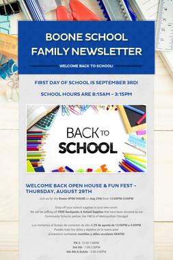 BOONE SCHOOL FAMILY NEWSLETTER