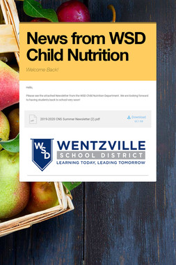 News from WSD Child Nutrition