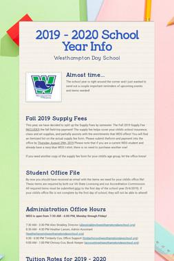 2019 - 2020 School Year Info