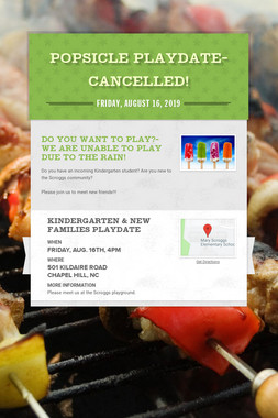 Popsicle Playdate- CANCELLED!