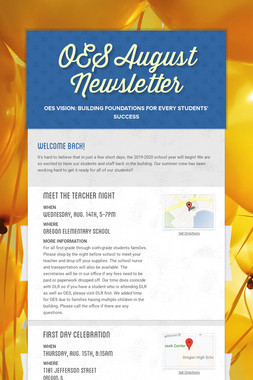 OES August Newsletter