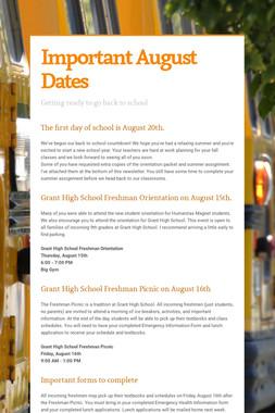 Important August Dates