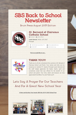 SBS Back to School Newsletter