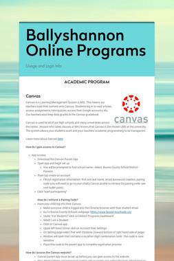 Ballyshannon Online Programs