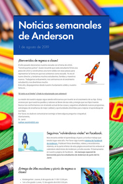 Noticias semanales de Anderson