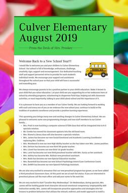 Culver Elementary August 2019