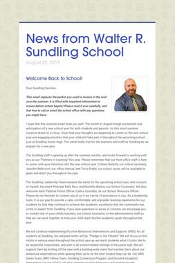 News from Walter R. Sundling School