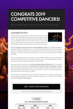 CONGRATS 2019 COMPETITIVE DANCERS!