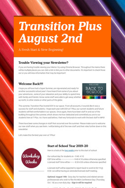 Transition Plus   August 2nd