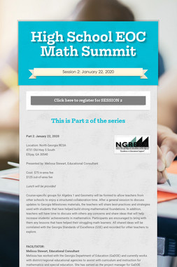 High School EOC Math Summit